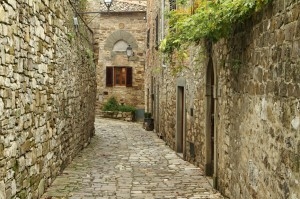 narrow  paved small street  in italian village Montefioralle nea