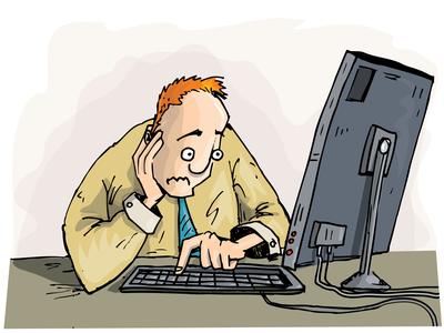 Cartoon man staring with concern at his monitor