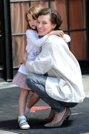 Milla Jovovich and Ever Gabo Anderson eat lunch at Gemma and shop at Lord & Taylor in Manhattan