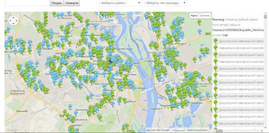 В Киеве заработала онлайн-карта детских садиков и школ
