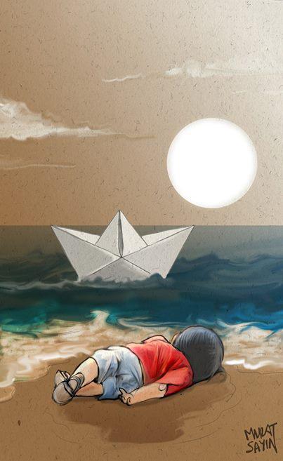 Художники всего мира рисуют сегодня в память о маленьком сирийском мальчике