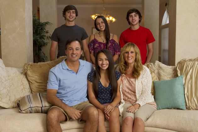 Jazz Jennings (front center) with her family.