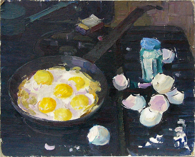 Вера Согоян. Натюрморт с яичницей. 1970-е.