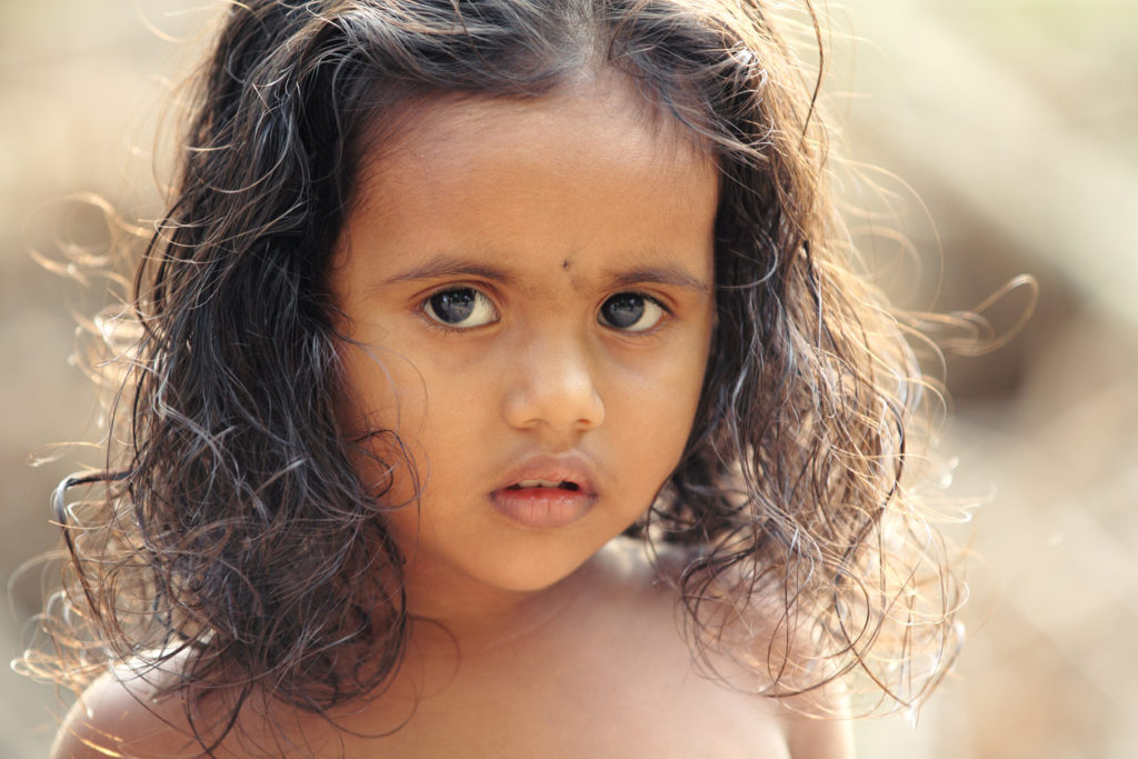 Close up of Indian Rural Girl in outdoor.