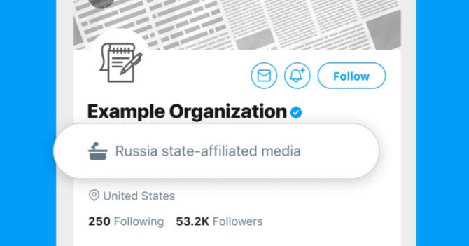 Twitter обозначает аккаунты СМИ, подконтрольных государством